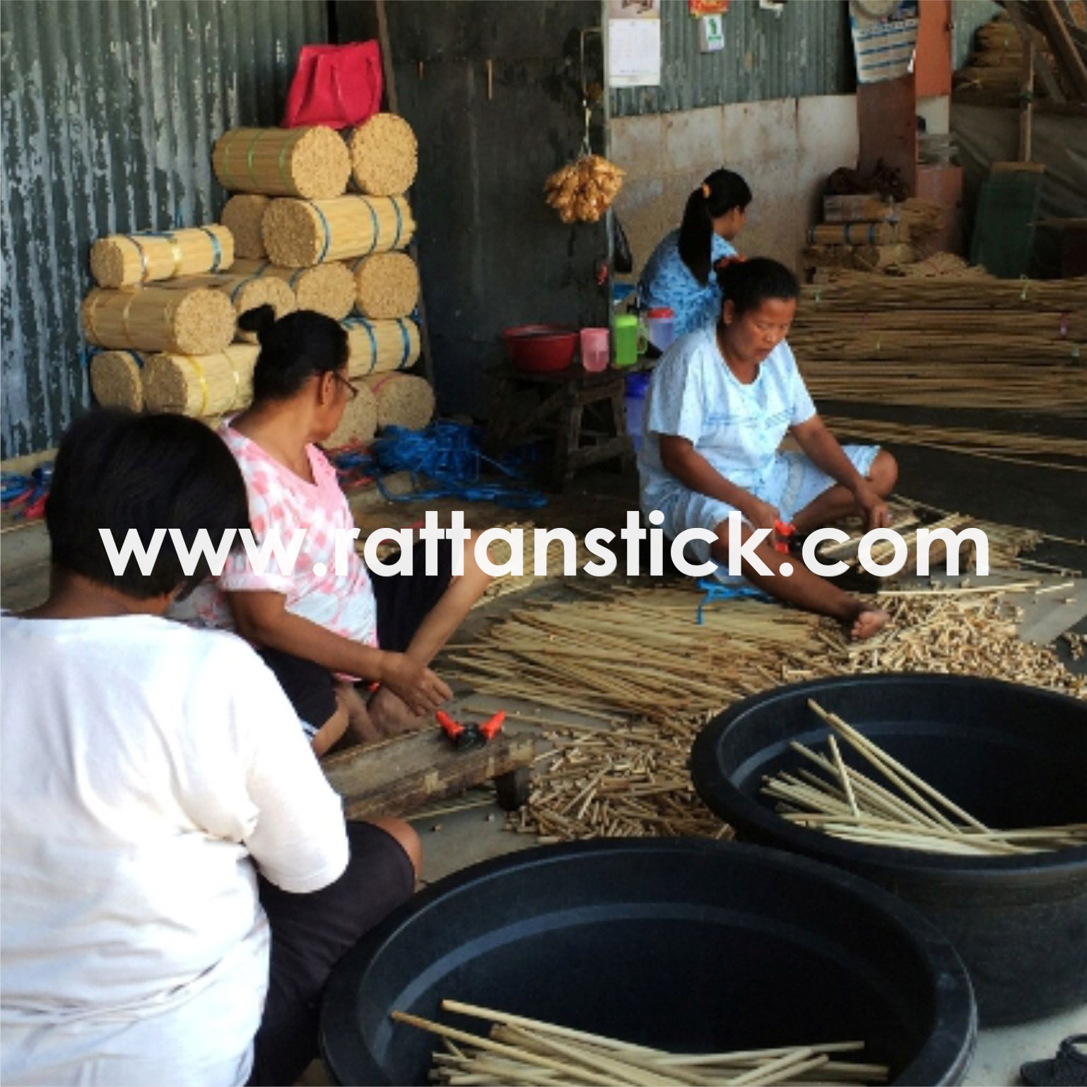 The Process of Making Rattan Sticks
